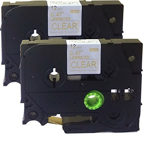 NEOUZA 2PK Compatible For Brother P-Touch Laminated TZe TZ Label Tape Cartridge 12mm x 8m (TZ-134 TZe-134 Gold on ()