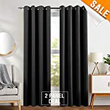 Blackout Curtains for Living Room by, Thermal Insulated Triple Weave Grommet Curtain Panels for Bedroom, 2 Panels, 95″ inch Black Review