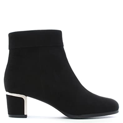 6075ee78cdf1 Daniel Enthusiasm Black Suede Metal Trim Heeled Ankle Boot 36 Black Suede