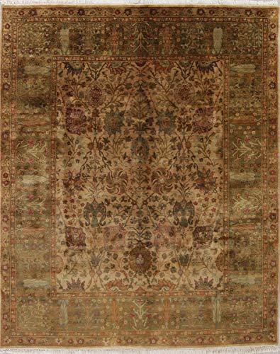 - New Handmade Agra Indian Wool Traditional Oriental Area Rug 8x10 Beige (10' 1