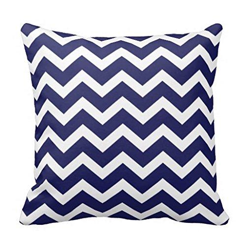 Decorative Cushion Cover Navy Blue Chevron Pillow Cover 18X18