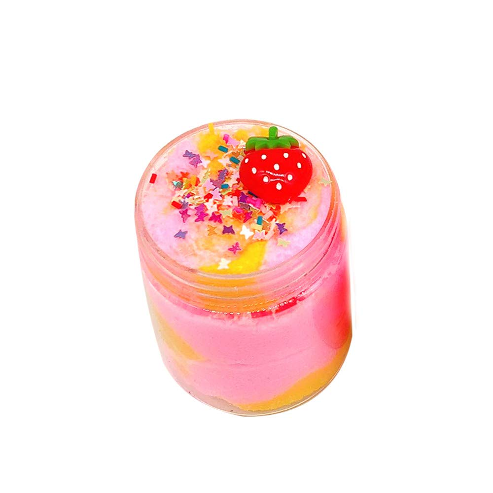 DIGOOD Non-Sticky Fluffy Slime Strawberry Mud Cloud Slime Putty Scented Sludge Kids Stress Relief Toy