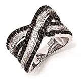 Cheryl M - Sterling Silver CZ White & Black Wedding Engagement Ring Size 8