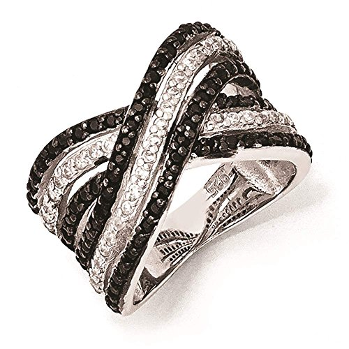 Cheryl M - Sterling Silver CZ White & Black Wedding Engagement Ring Size 8 by Venture Jewelers
