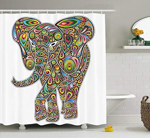 Makayla Riley Psychedelic Shower-Curtains, Large Eastern Elephant Figure Trippy Design Boho Retro Savannah Cute Pattern, Cloth Bathroom Beautify Adornment Set with Hooks, (60W X 72L Inches),Waterproof from Makayla Riley