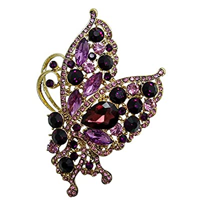 New TTjewelry Vintage Purple Butterfly Insect Gold-Tone Brooch Pin Austria Crystal