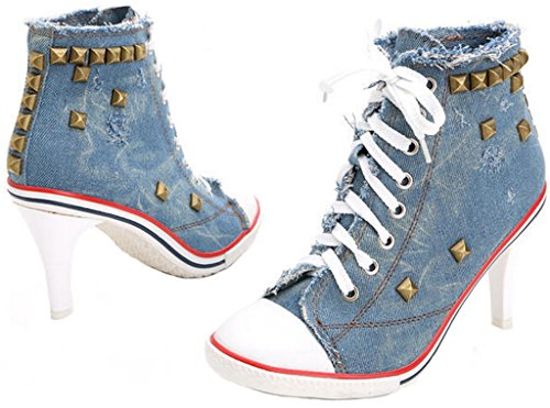 Jiye Damen Canvas High-Heels Fashion Sneaker Pumps Schuhe D-blau