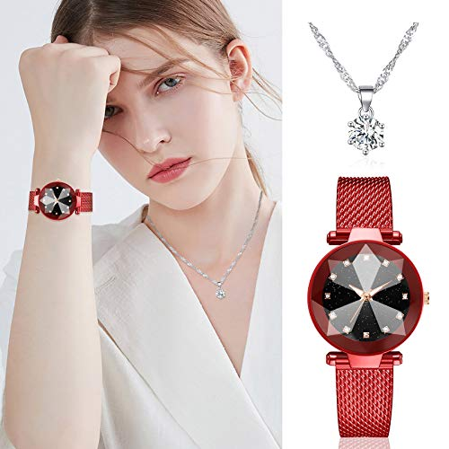 Leyerer Watch Necklace Set for Women, Fashion Quartz Mesh Belt Wrist Watches and Casual Business Ladies Necklace Jewelry Combination, 2020 New (Red)