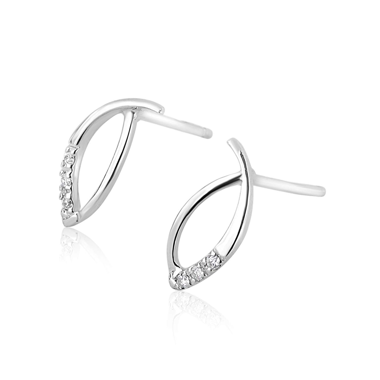 5ef94fbda6ab Pendientes Mujer Oro y Diamantes - Oro Blanco 9 Quilates 375 ♥ Diamantes  0.05 Quilates - Florence Collection  Amazon.es  Joyería