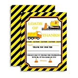 Construction, Digger, Dump Truck Thank You Notes for Kids, Ten 4'' X 5.5'' Fill in the Blank Cards with 10 White Envelopes by AmandaCreation