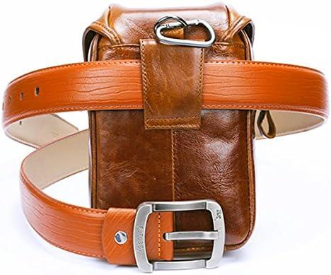 Fishagelo Multifunction Small Fashion Waist Bag Men Leather Belt Phone Bag Single Shoulder Bag Crossbody Bag Color : Color Khaki
