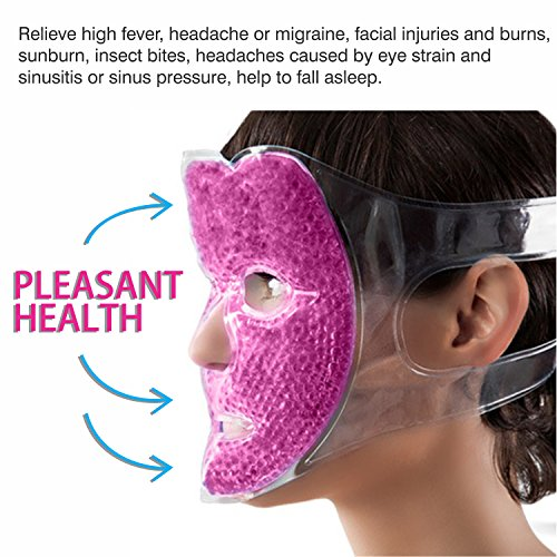 Full Face Gel Mask + Bonus: Eye pad, Hot & Cold Therapy Set | Spa Compress Pearl Treatment, Stress Relief, Treats Puffy Eyes, Dark Circles, Acne, Bags | Women Men Gift for Birthday or Anniversary
