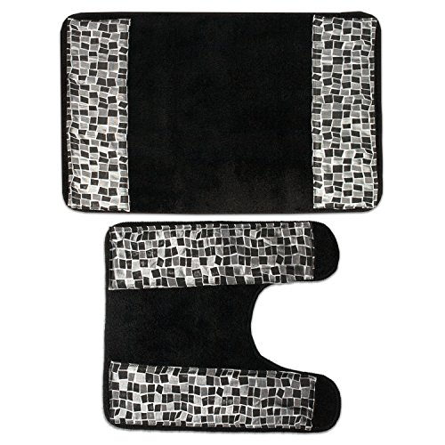 Mosaic Spice - Popular Mosaic Stone Black Spice Bathroom Banded Bath & Contour Rug Set
