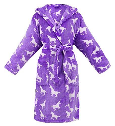 Women Hooded Printed Flannel Fleece Bathrobe Robe w/Side ()