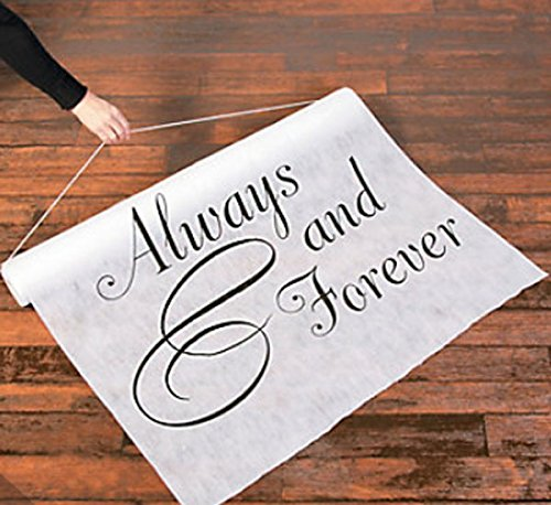 100 FT ALWAYS & FOREVER Wedding Aisle Runner Long Bridal White Black Sentiment