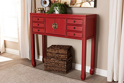(Baxton Studio 6-Drawer Console Table in Red)