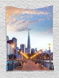 Ambesonne Apartment Decor Collection, San Francisco Pier 7 Sunset in California USA Bridge Landmark Evening Photography, Bedroom Living Room Dorm Wall Hanging Tapestry, Blue Gray