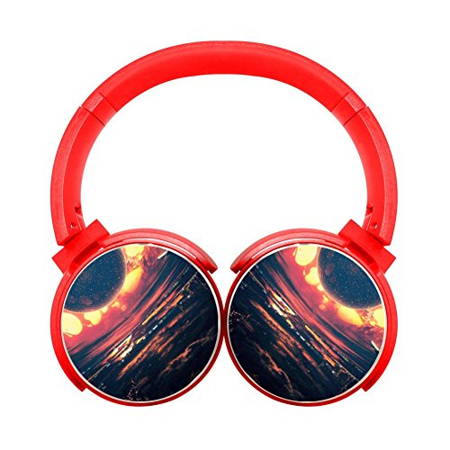 Gamer Chart Heat Wave Cityscape Clouds Airplane Stereo Wireless Headphones With Microphone On-Ear Foldable Portable Music Headsets For Cellphones Laptop Tablet Tv (Heat Wave Tab)