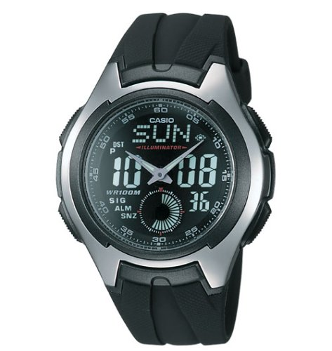 Casio Stainless Steel Watch with Black Band