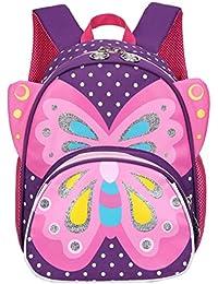 1487a6552740 Kids Toddler Backpack 3D Cute Zoo Animal Butterfly Cartoon Pre School  Children Backpack (Purple)