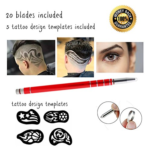 - Hair Tattoo Pen Set (Red) Stainless Steel Includes 20 Blades and 5 Tattoo Design Templates Hair Engraving Shaver Eyebrow Trimming