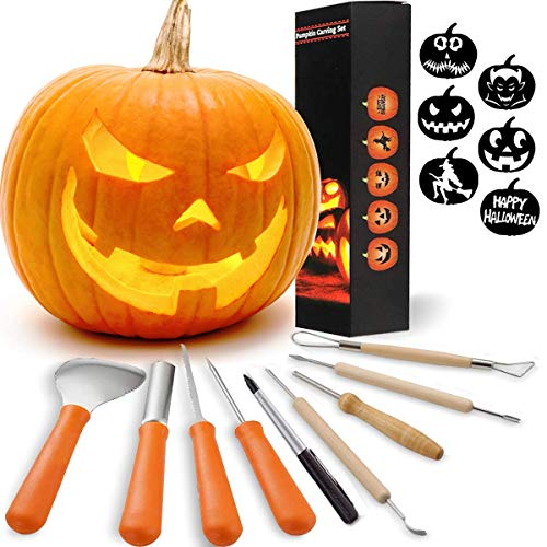 Halloween Pumpkin Carving Sets, 8 Pack Pumpkin Carving Kits and 1 Pen with 6 Carving Stencils DIY Jack-O-Lantern Pumpkin Carving Tools for Halloween Party Decoration]()