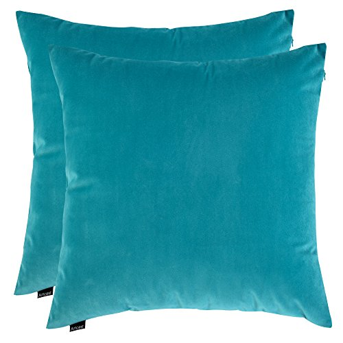 Artcest Set of 2, Cozy Solid Velvet Throw Pillow Case Decorative Couch Cushion Cover Soft Sofa Euro Sham with Zipper Hidden, 18''x18'' (Light Teal) by Artcest