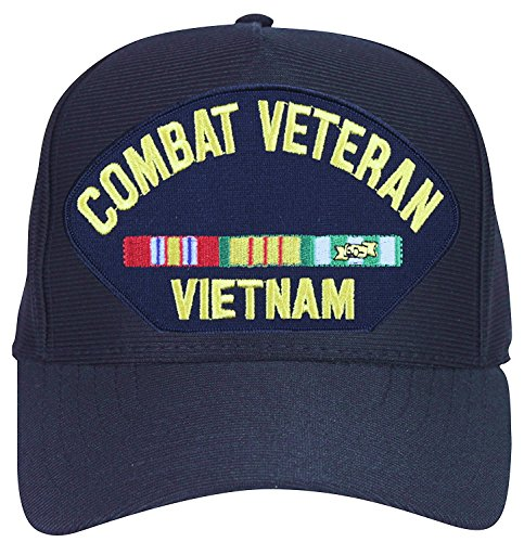 Combat-Veteran-Vietnam-with-Ribbons-Baseball-Cap-Navy-Blue-Made-in-USA
