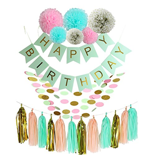 Ipalmay Pink Gold and Mint Birthday Decoration Set, Happy Birthday Banner, Variety of Tissue Pom Poms with Tissue Tassel, Best for Theme Party Decor
