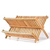 Natural Bamboo Dish Drying Rack, SZUAH Collapsible Dish Plate Drainer Rack, 2-Tier Dish Drying Holder, with 19 Slats