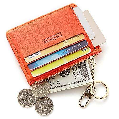 (Cyanb Slim Leather Credit Card Case Holder Front Pocket Wallet Change Purse for Women Girls with keychain Grey orange)
