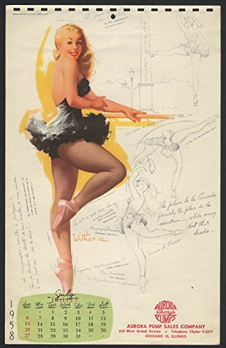 - Ted Withers pin-up calendar sheet blonde ballerina at the bar 7 1958