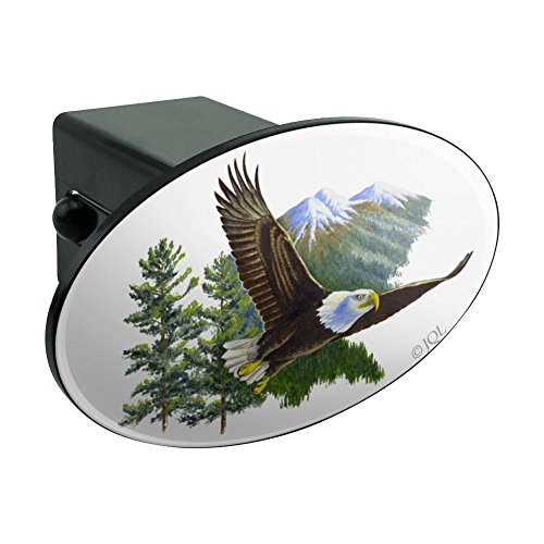 Bald Eagle Flying Over the Mountains Scenic Oval Tow Hitch Cover Trailer Plug Insert ()