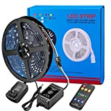 LED Strip Light Sync to Music 16.4ft 5050 DreamColor Music LED Lights Strip Built-in IC ,Waterproof RGB LED Flexible Strip Lighting Kit 360 Degree Signals Accept RF Remote 12V DC Adapter Powered