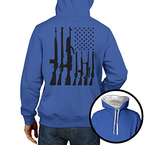 HAASE UNLIMITED Men's Big American Flag with Machine Guns Two Tone Hoodie Sweatshirt (Royal Blue/White Strings, (Gun Sweatshirt)
