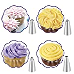 Cake Decorating Supplies Set- 42 Pieces Professional Stainless Steel Icing Tips, 3 Reusable Coupler, 2 Reusable Silicone Bag 10 Disposable Icing Bags And 1 Cleaning Brush 74 Pcs Baking Tools Kit 11 【Create All Patterns Needed】The 76 pieces cake decorating kit set creates all types of patterns on caking and baking, including open star, closed star, french, round, plain, leaf, rose petal, special tips. 20 disposable and 2 reusable pastry bags allows various color icing in use. 3 Couplers are easy to switch quickly from one tip to another tip. 【Fit for Newbie & Professional】Adeeing cake decorating supplies provides everything for new beginners and professionals. 36 Small stainless steel icing tips, 6 medium stainless steel icing tips, 3 scrapers in different shapes, 3 couplers in different sizes, 20 disposable pastry bags, 2 reusable silicone pastry bags, 2 flower nails, 1 cake brush, 1 scissors,1 storage box, 1 manual. 【FDA Approved & Safe to Use】 Icing nozzles are constructed of 304 food-grade stainless steel. Strong, seamless, corrosion resistant, reusable and eco-friendly; non-stick, tasteless, non-toxic, never leaking. 2 silicone pastry bags are reusable. The lack of sharp seams also makes the icing set safe to when decorating pastries or cookies, muffins or even scones or donuts.