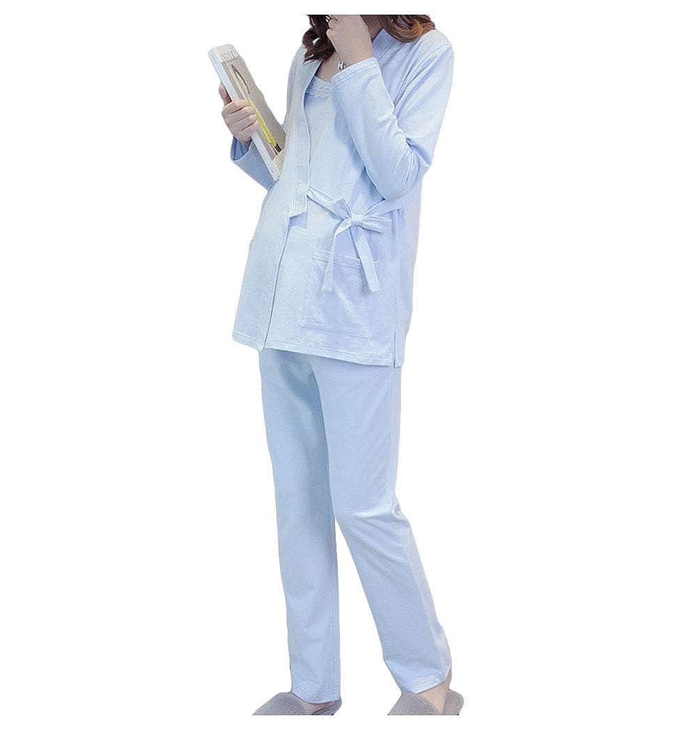 Anguang Femme Maternité Dentelle Pyjamas Respirante Costume D'Allaitement 3 Pièces De Nuit Nursing Enceinte