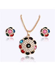 Hot 18K Gold Plated Beautiful Flower Rhinestone Crystal Necklace + Stud Earrings Jewelry Set Party Costume Accessories For Women^