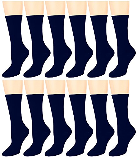 - 12 Pairs Women's Cotton Crew Socks Assorted Colors (Navy)