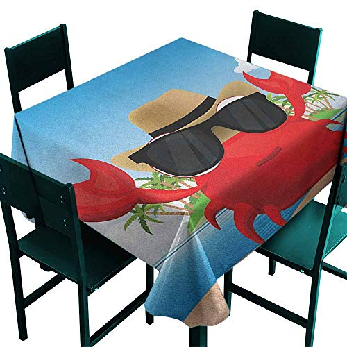 Spill-Proof Table Cover Crabs Cool Crustacean with Black Sunglasses and a Hat Summer Vacation on Tropical Island Party Decorations Table Cover Cloth 50x50 Inch -