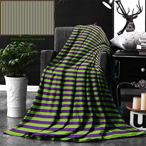 Unique Custom Digital Print Flannel Blankets Pop Art Decor Vintage Retro 50S 60S Style Bold Stripes Rooms Wallpaper Image Royal Super Soft Blanketry for Bed Couch, Throw Blanket 60 x 50 Inches