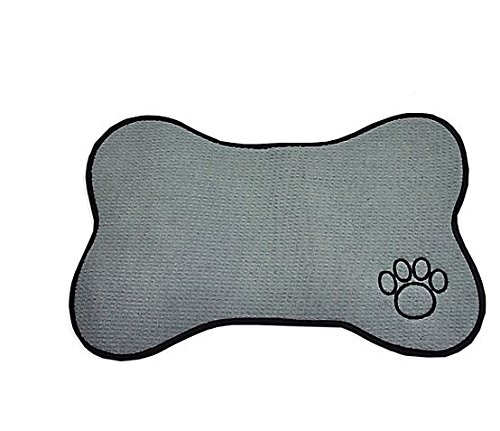 Bone Shape (Bone Shape Embroidered Pet Feeding Placemat Grey)