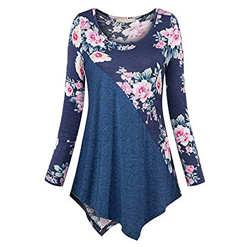 Byyong Women's Plus Size Long Sleeve Print Loose Fitting Round Neck Swing Dress T-Shirt Pullover Tops (Best Tv Doorbuster Deals)