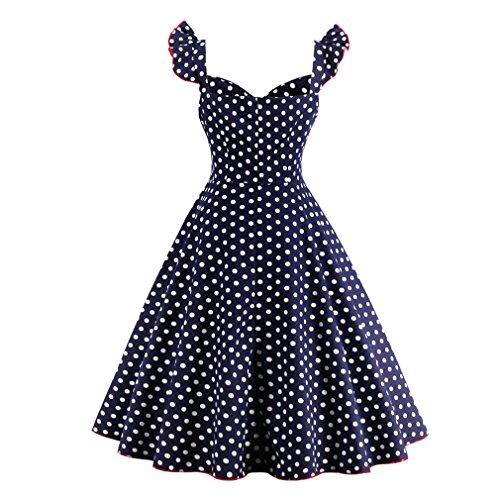 Dot verano Partido de Feminino con Rockabilly correa vestido Blue Size Dress Mujer Ropa Swing Plus Patchwork Vintage vestidos Casual Sx1U18