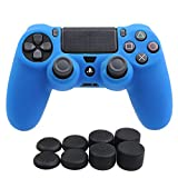 YoRHa Silicone Cover Skin Case for Sony PS4/slim/Pro controller x 1(blue) With Pro thumb grips x 8