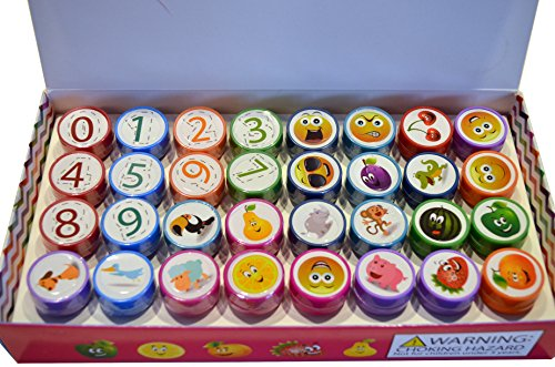 Shop Stamp (Shops 17 Self Inking Stamps for Kids, 32 count, assorted numbers, emojis, animals, fruit, and vegetables)
