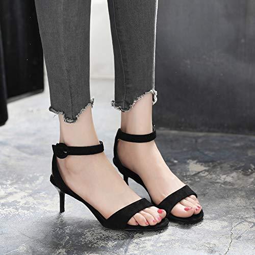 Altos Buckle 5cm De Alto Con Zapatos Tacones Sandalias Open Yukun Tacón Verano Fashion Word Mujer Black Toe Stiletto x8Y6nwq5