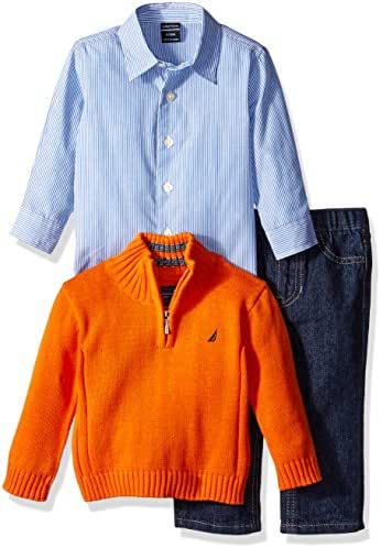 Nautica Baby Boys' Three Piece Set with Woven, Quarter Zip Sweater, Denim Jean