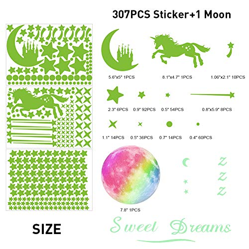 308 Pcs Glow in The Dark Stars for Ceiling, 3D Glowing Unicorn Wall Decals Moon Star Stickers for DIY Boys Girls Bedroom… 2