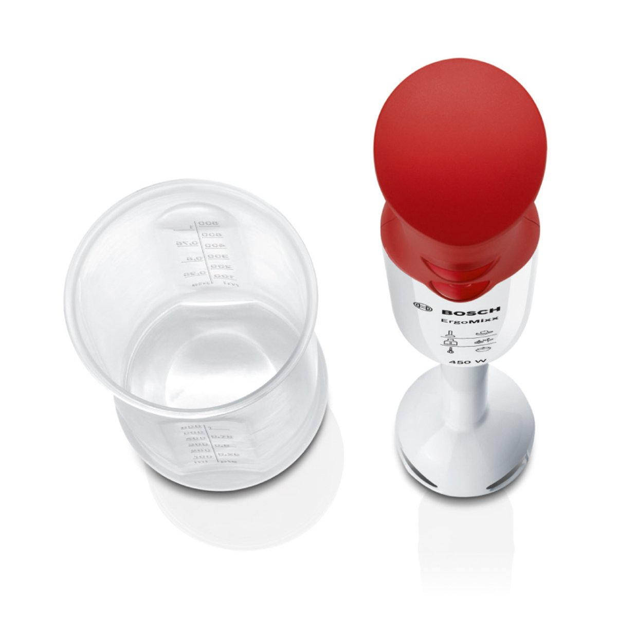 Bosch ErgoMixx MSM64010 - Batidora de mano, 450 W, velocidad Turbo, cúpula con cuatro cuchillas, con vaso de mezclas, color rojo y blanco: Amazon.es: Hogar